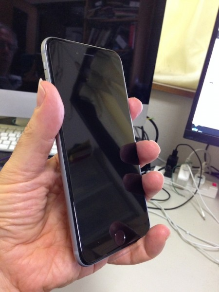 Another view of the iPhone 6 Plus in hand.